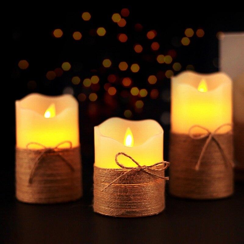 2019 3 pièces LED bougie lumière photophore à piles télécommande pour la maison barres anniversaire bougie