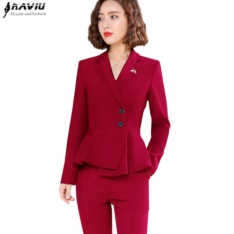2019 Nieuwe fashion design broek past vouwen zoom lange mouw blazer en broek twee stukken set formele werkkleding-in Broekpak van Dames Kleding op  Groep 1