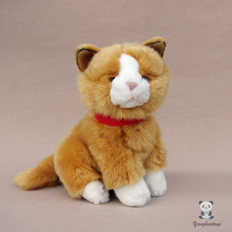 Cute Plush Yellow Cat Simulation Stuffed Toy Animals Cats Doll Kids Toys Christmas Gifts