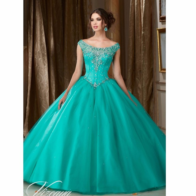 Custom Made cheap turquoise quinceanera dresses Key Hole Back Sweet 16 dress  Ball Gown vestido de 8f4ed4f2129e