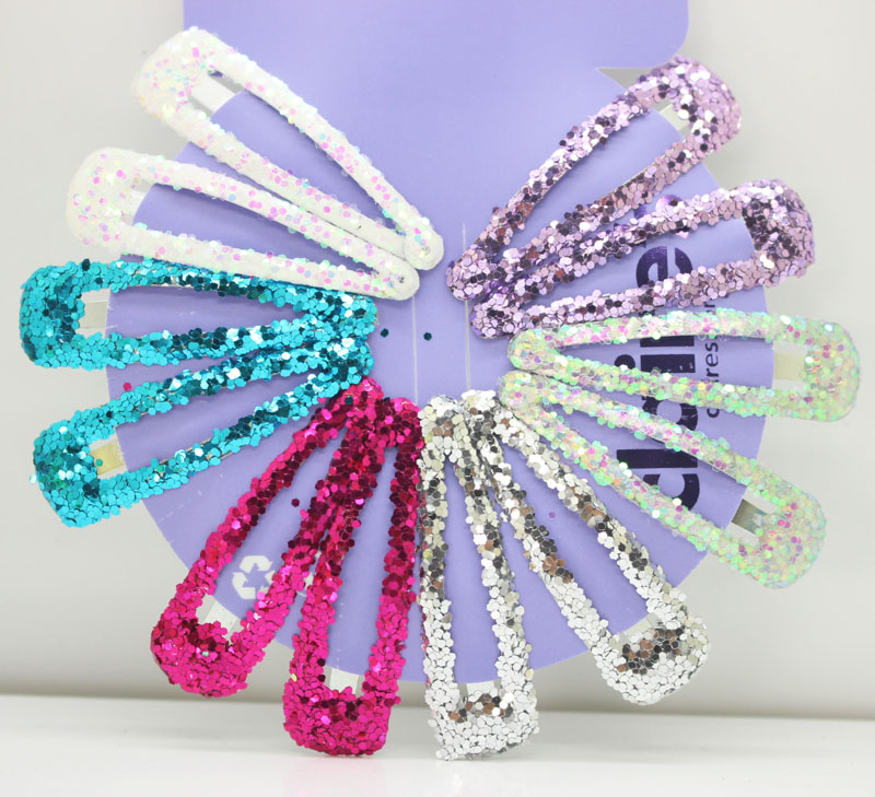 12 Pcs/lot multi color glitter snap hair clips hairpins girl's gifts shinny hairgrips fashion bling headwear hair accessories 24pc hair styling braid hair snap clips for girls headwear hair ornaments black snap hairgrips hairclip barrettes hairpins clips