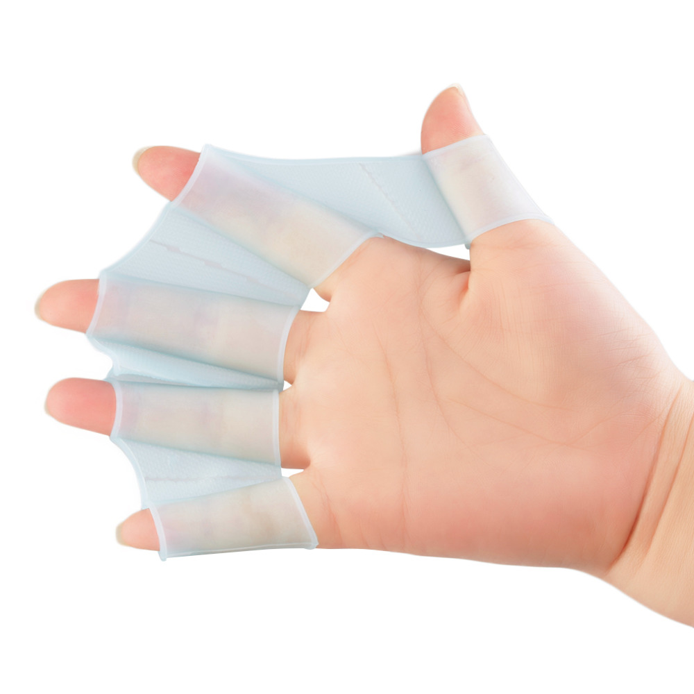 1 Pair Silicone Swimming Hand Fins Flippers Palm Finger Webbed font b Gloves b font Paddle