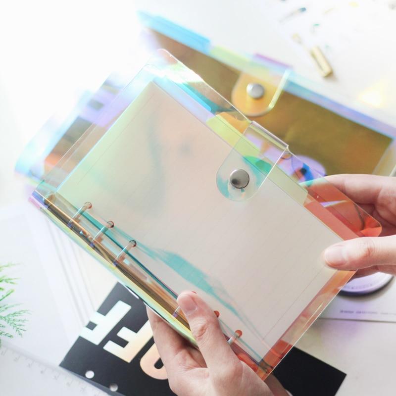 Transparente bunte Laser Notebook Tagebuch Cover Glitter Planer Clip Notebook