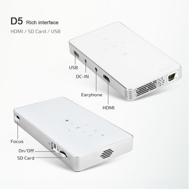 AUN Smart Projector, D5S, Android 7.1 (Optiona 2G+16G) WIFI, Bluetooth, HDMI, Home Theater Mini Projector (Optional D5 White) 4