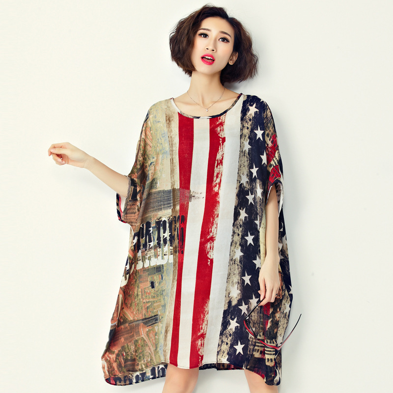New Fashion Usa American Flag Pattern Print Casual Chiffon Women