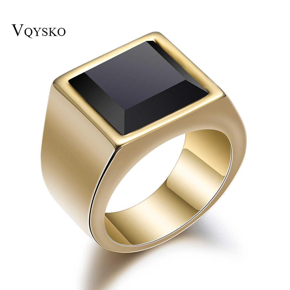 Hot สีดำแหวน Mens Gold Silver AAA แก้วแต่งงานแหวนผู้ชายสแตนเลสสตีลเครื่องประดับขายส่ง