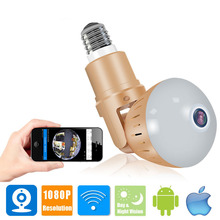Беспроводной светодиодный HD камера с разрешением 1080 P, панорамная ip-камера с углом обзора 360 градусов, домашний светодиодный светильник для безопасности в помещении, Wi-Fi камера для видеоняни V380