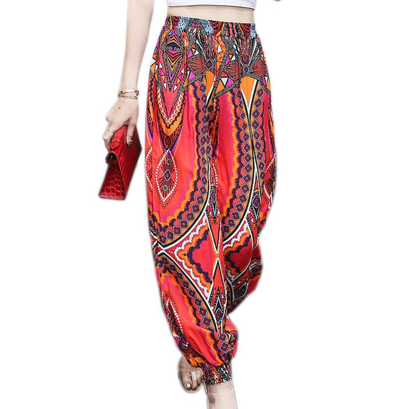 2018 Böhmischen Sommer Hosen Frauen Vintage Print Lose Harem Hosen Weibliche Elastische Taille Thai Blume Hosen Für Frauen Strand Hosen
