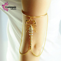 Nieuwe Populaire Vrouwen Bovenarm Armband Vintage Levensechte Scorpion Omzoomd Drop Arm Ketting Mooie Gift Sieraden Armband Sandaal Sexy