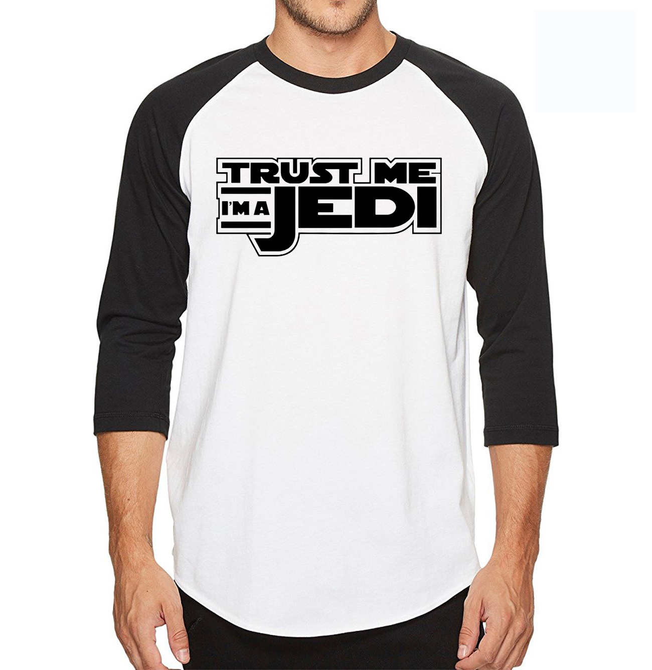 Three Quarter Sleeve T Shirt Men 100% Cotton High Quality STAR WARS Trust Me I'm a Jedi knight Fashion Design T-Shirt