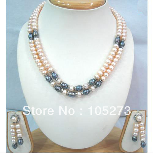 New Free Shipping Pearl Jewelry Set 7-8mm Natural White Pink Grey Freshwater Pearl Necklace Earrings 17-18'' 2Rows Top Quality white pink purple black pearl jewelry set aa 7 8mm 100