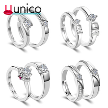 UUNICO new Sliver Wedding Ring For Lovers AAA zricon Couple Rings Set Men Women Engagement Wedding Rings Valentine's Day gift T7