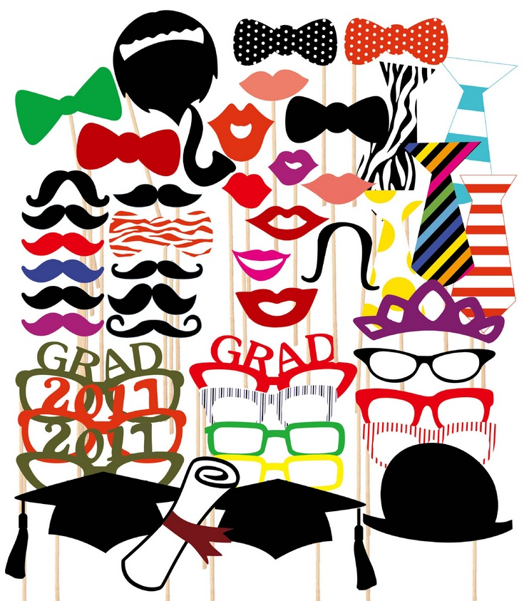 2017 graduation party photo booth props kit on sticks 46 count in