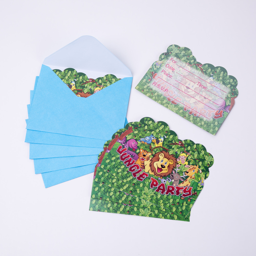 6pcs/lot Cartoon Animal Jungle animals Invitation Card Party Decoration Disposable Tableware Set Supplies Wild Zoo Globos
