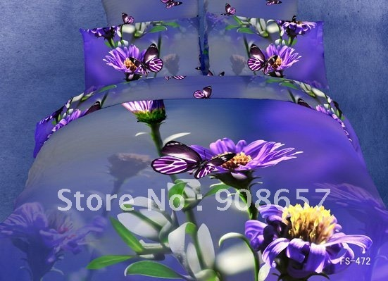 new purple beautiful flower print cotton bedding sets duvet quilt covers sets 4pcs for bedroom Queen/full comforter home textile
