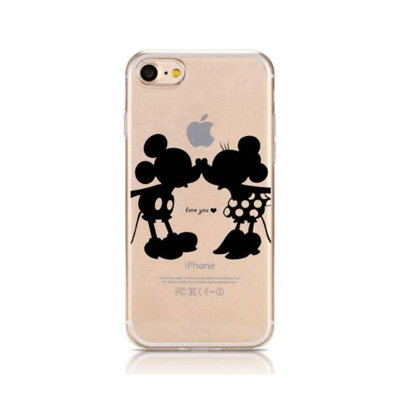 Bonito Dos Desenhos Animados Caso de telefone para o iphone 7 8 8 7 plus plus Caso Minnie Mickey Mouse Macio Coque Para iphone 6 6s 5 5s se iphone X Funda