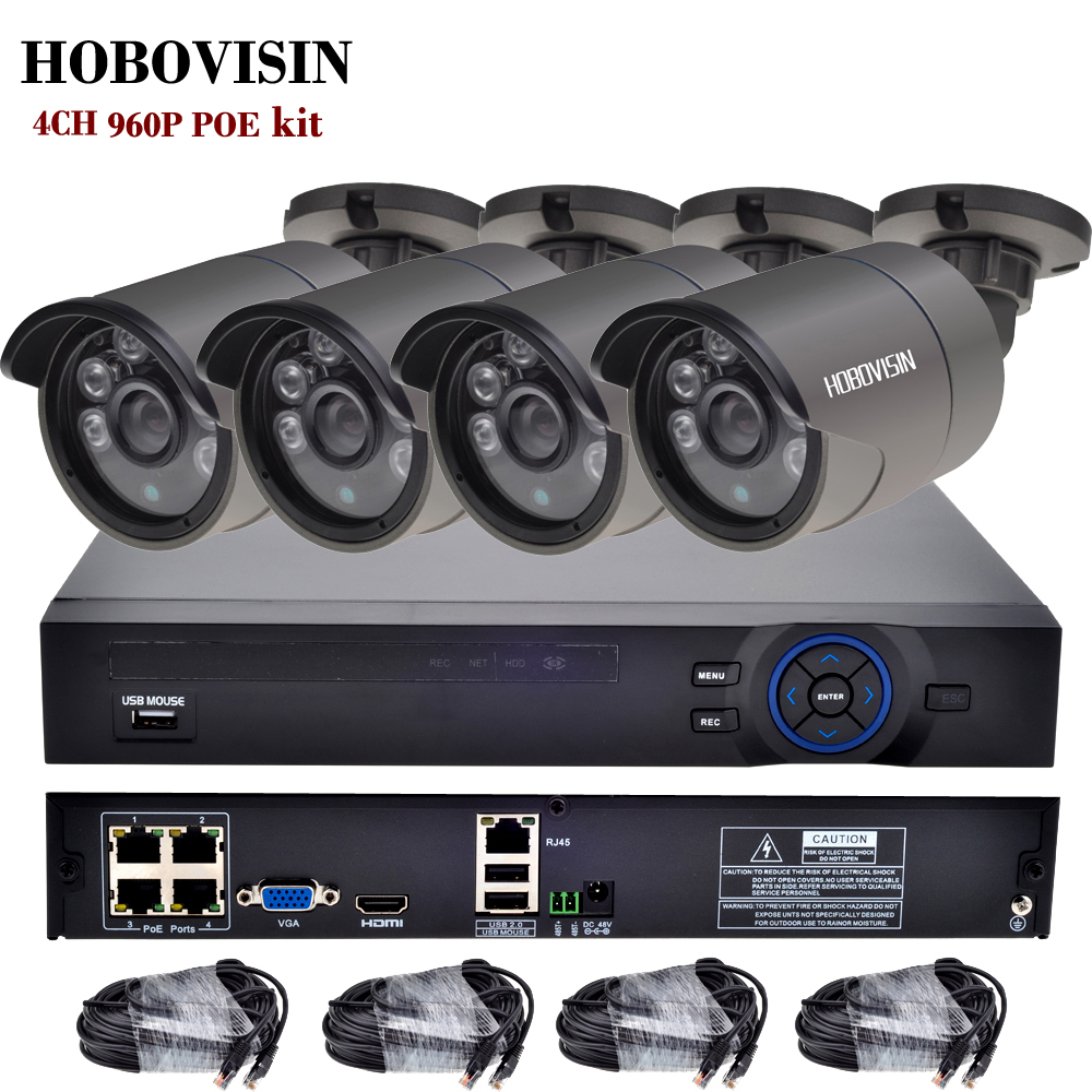 4CH 960P  CCTV System PoE Kit Surveillance PoE 48V 4CH NVR+4PCS 960P Outdoor metal PoE IP Camera +4PCS 18.3M CABLE CCTV KIT