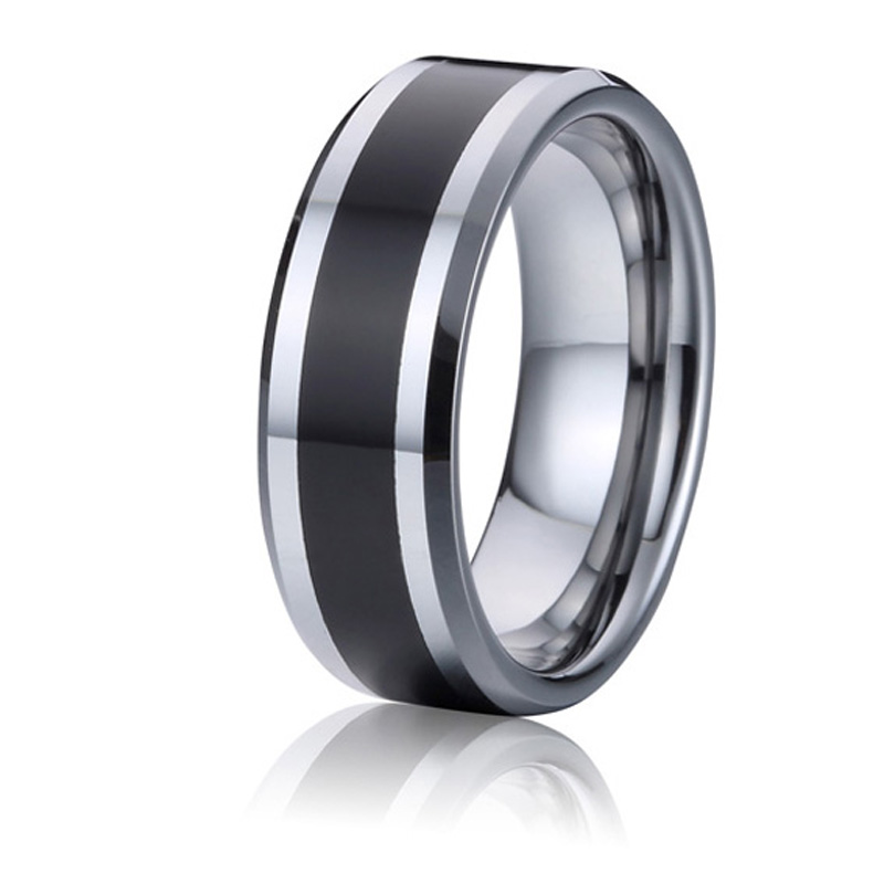 Tungsten Wedding Bands Mens Rings Black And Silver Color