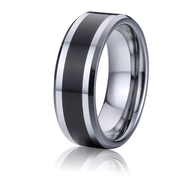 tungsten wedding bands mens rings black and silver color handmade