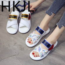 HKJL Summer 2019 new love sandals womens Korean version cross flat fashion matching color with Roman A351