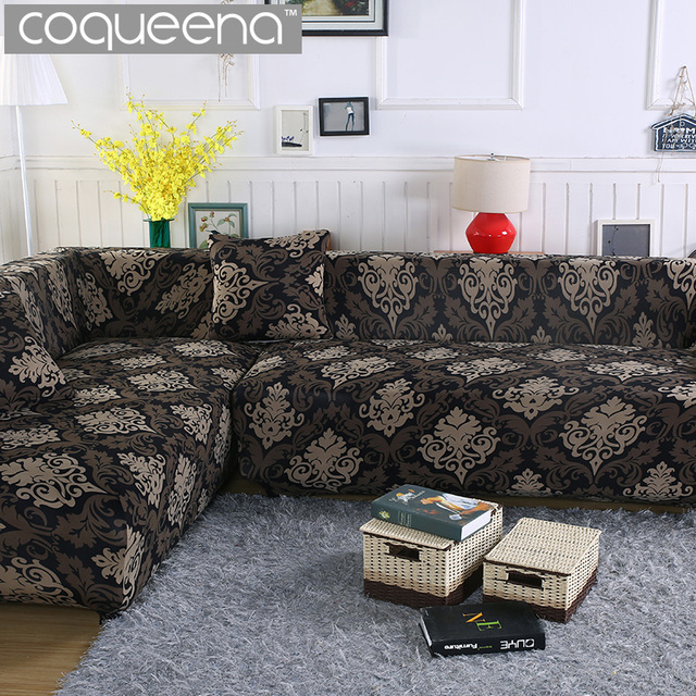 2 Pieces Covers For Corner Sofa Chaise Longue Angled Sectional Slipcover Universal Stretch Elastic L