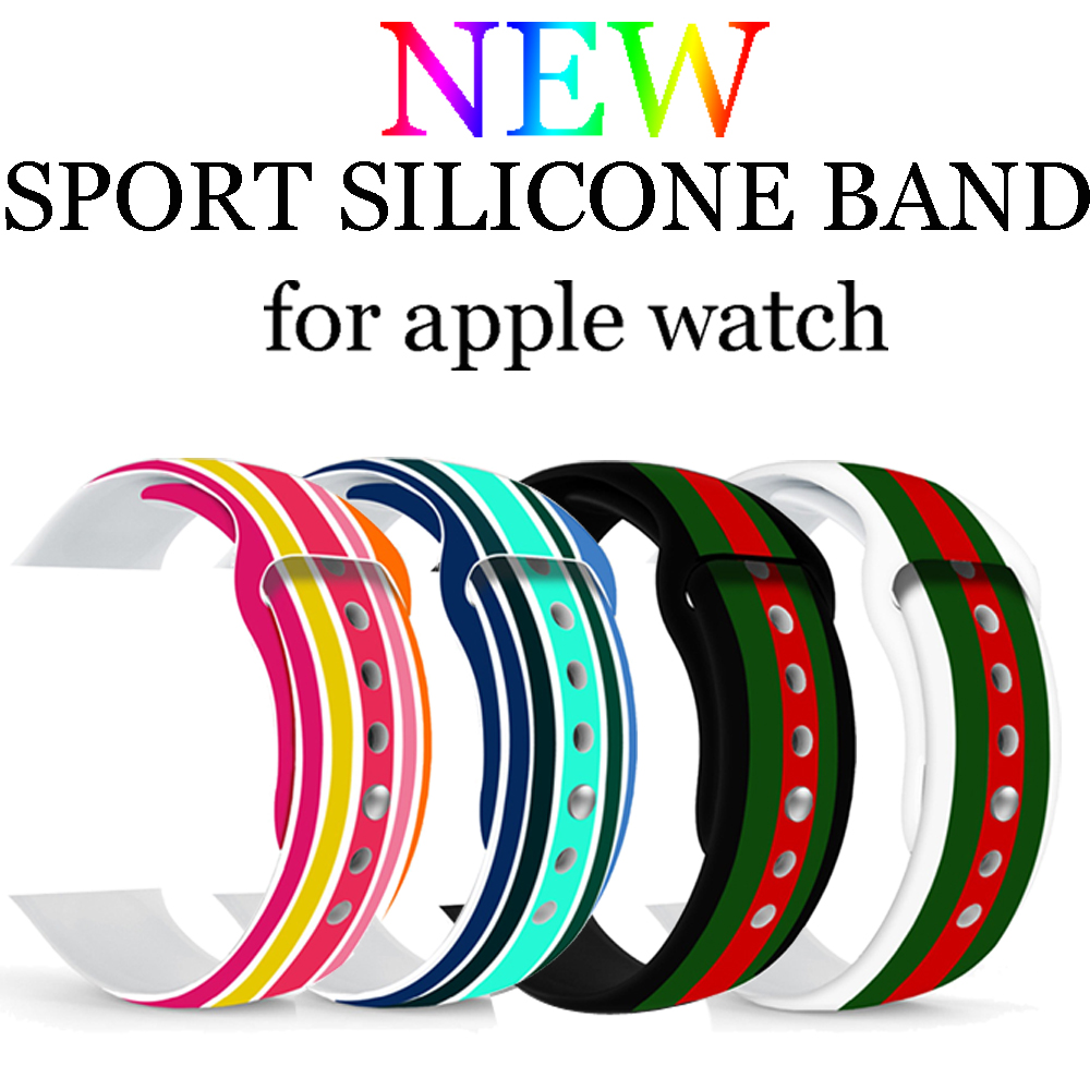 Sport Strap For Apple Watch band 42mm 38mm iwatch 3 2 1 Print Flowers Silicone Watchband Bracelet Wristband Rubber belt цена