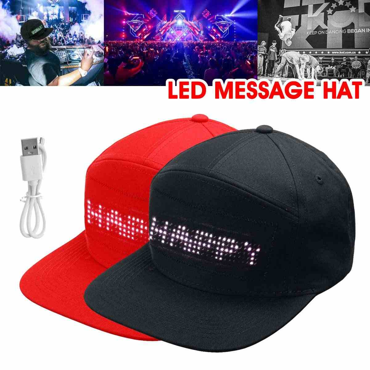 Lesov Red/Black Festival Party Stage Performance LED Scrolling Message Hat Display Board Baseball Parade Golf Fish Hip-pop Cap