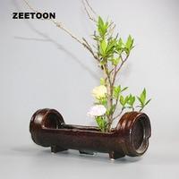 Coarse Pottery Bamboo Section Tabletop Flowerpot Ikebana Flower Pot Vase Flower Arrange Hydroponic Planters Vintage Home Decor
