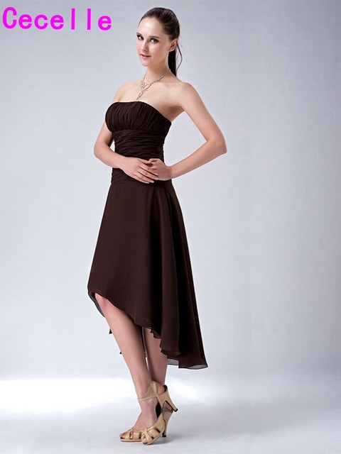 Aliexpress.com : Buy Choclate High Low Strapless Ruches Chiffon ...