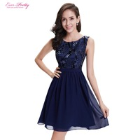 Ever Pretty Cocktail Dresses AP05330NB Navy Blue Simple Fashion Round Neck Short Evening Cocktail Dress Knee
