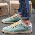 2017 hombres Del Verano zapatos de lona transpirable zapatos de moda casual bajo zapatos de los planos de Los zapatos de Lino negro, azul, verde