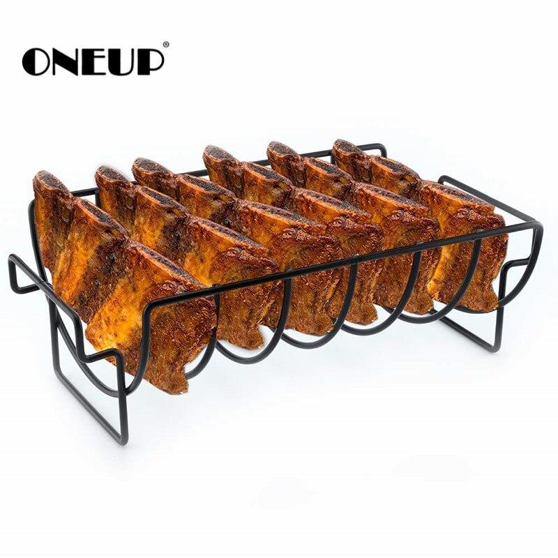 Onills support pour étagère à côtes antiadhésives grille pour Barbecue et rôti grille pour Barbecue en acier inoxydable grille pour grillades panier pour grillades au poulet et au boeuf