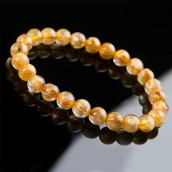 8mm Genuine Natural Titanium Gold Rutilated Quartz Crystal Clear Round Bead Bracelet For Women Femme Charm Stretch Bracelet