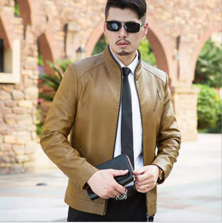 de24e7712bc 2015 New Arrive Men Leather Jacket mens autumn style fashion genuine  leather jacket coat Color Brown Champagne Size M 3XL-in Faux Leather Coats  from Men s ...