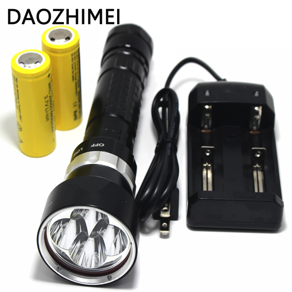 Diving Flashlight 4 x CREE XM-L L2 10000 Lumens Underwater 200m Scuba Diver LED Light Torch By 3.7V 18650 or 26650 led diving flashlight torch 100m underwater light diver light 5 x cree xml l2 8000 lumens scuba lanterna with 18650 battery