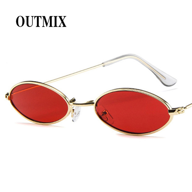 0141995e6a Small Oval Sunglasses Narrow Design Gray Yellow Red Sun Glasses Vintage Man  Women Fashion Hip Hop Shades Glass Gold Metal Frame