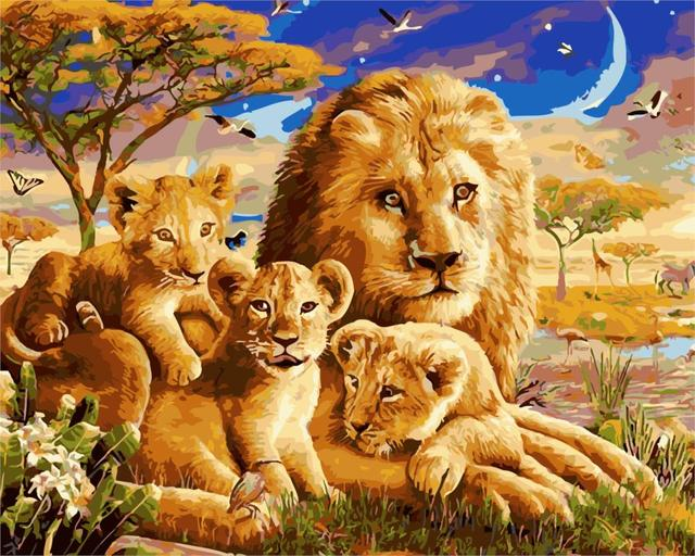 Latest Styles Animals Lion Family Painting On Canvas Home Decor Home Wall  Art Artwork Frameless DIY