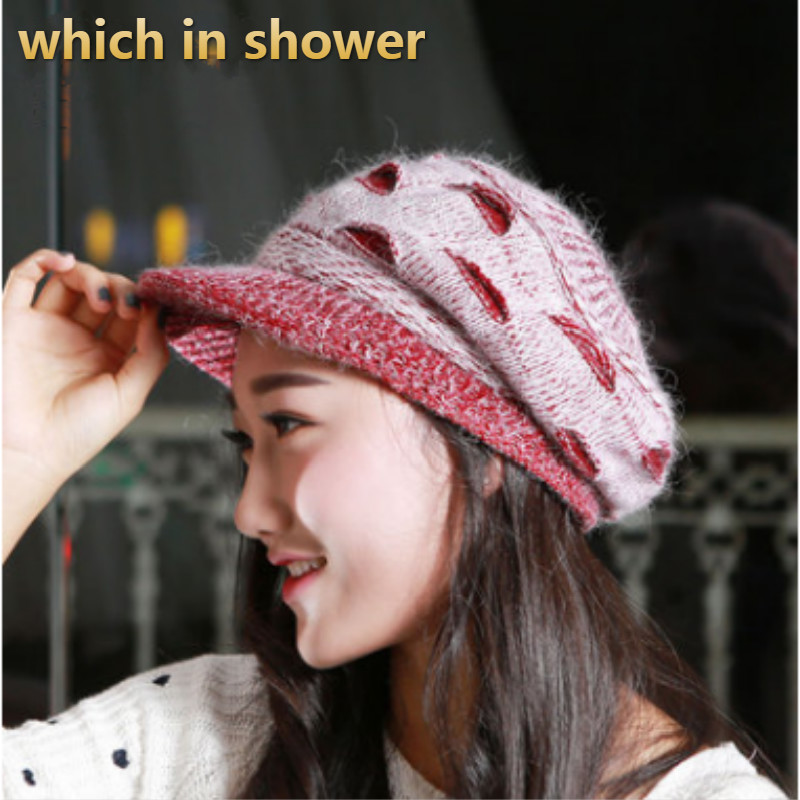 Nice Women Distress Painter Hat Hole Knitted Newsboy Hat Solid Female Winter Cap Fleece Liner Thickened Warm Ski Beret Gorras Bone Wide Selection; Women's Hats