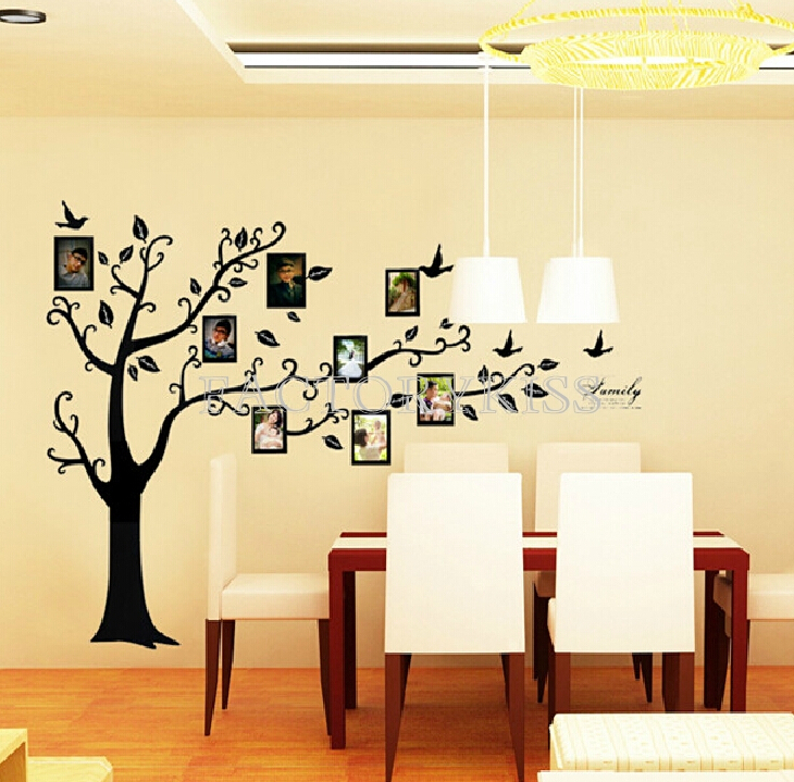Black 3D DIY Photo Tree PVC Wall Decal Adhesive Family Wall Stickers ...