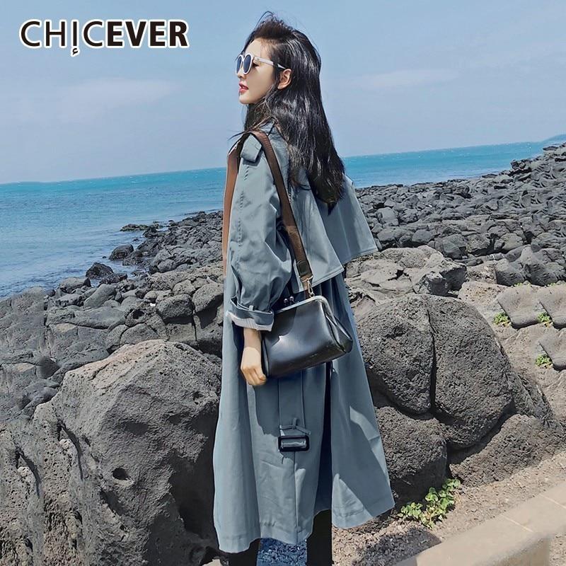 CHICEVER 秋女性のウインドブレーカーラペル長袖包帯カジュアルルーズロングトレンチコートの女性 2019 韓国ファッション服  グループ上の レディース衣服 からの トレンチ の中 2