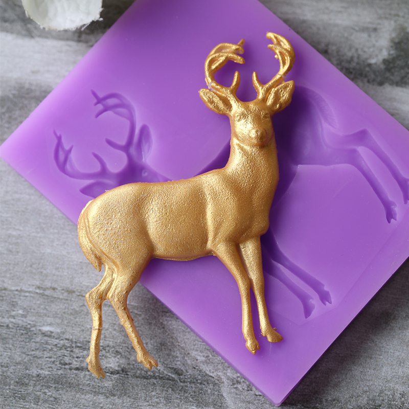 Hot Christmas Deer Cake Silicone Soap Molds Fondant Mold Cake Decorating Tools Animal Sweet Candy Clay Gumpaste Baking Mould
