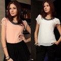 Moda modelo de LA UE 2017 Mujeres del verano & Lady Plus tamaño de la gasa ocasional de la vendimia Floja Blusas/Rebordear cuello, Pullover gasa Tops W00213