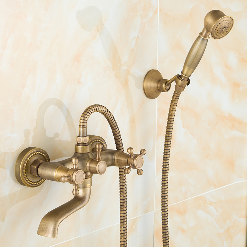 все цены на Antique brass bathroom bathtub shower faucet set rainfall shower head,European copper wall mounted water tap mixer valve whosale онлайн