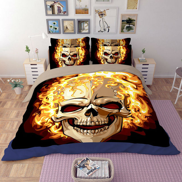 Special Price Hd Skull Bedding Sets Burning Skeleton Quilt Duvet Cover Set Twin Queen