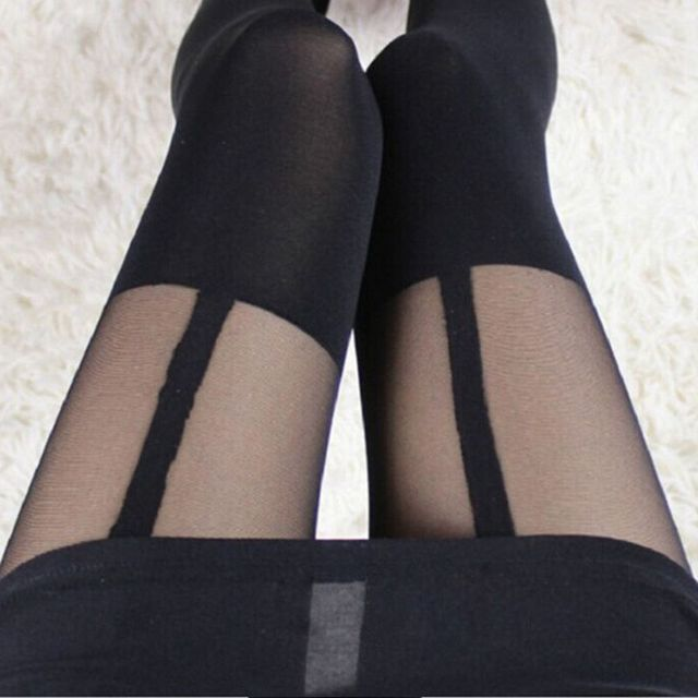 1PC Sexy Women Girls Charm Black Temptation Sheer Mock Suspender Tights Elastic Soft Comfortable Pantyhose Stockings Hot Sale