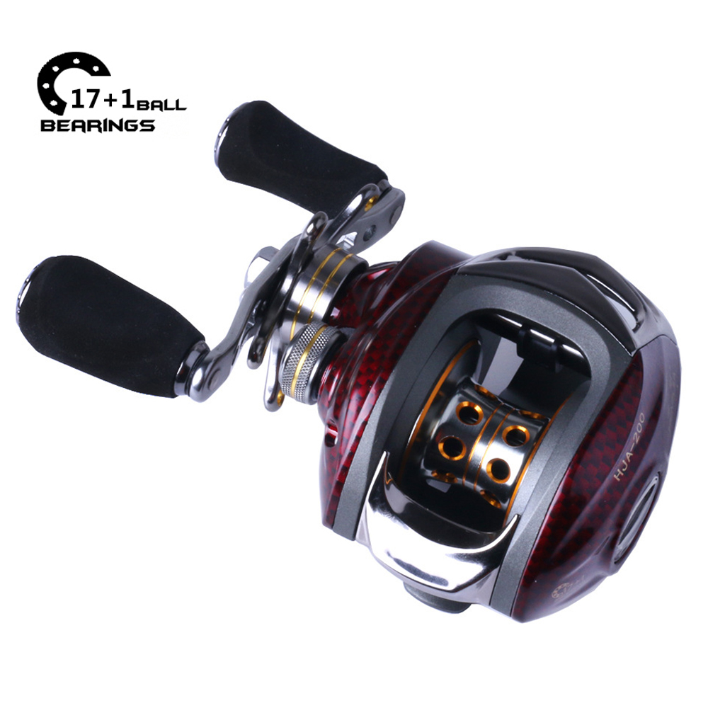 17+1 Ball Bearings Baitcasting Fishing Reel Low Profile Left Hand Right Hand Bait Casting Gear Ratio 6.3:1 Dual Magnetic Brake
