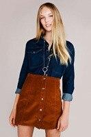 Momoluna Woman new 2017 Vintage Corduroy Front Button A-Line high waist  mini jupe mujer etek gonne rokken skirt skirts xs s m l