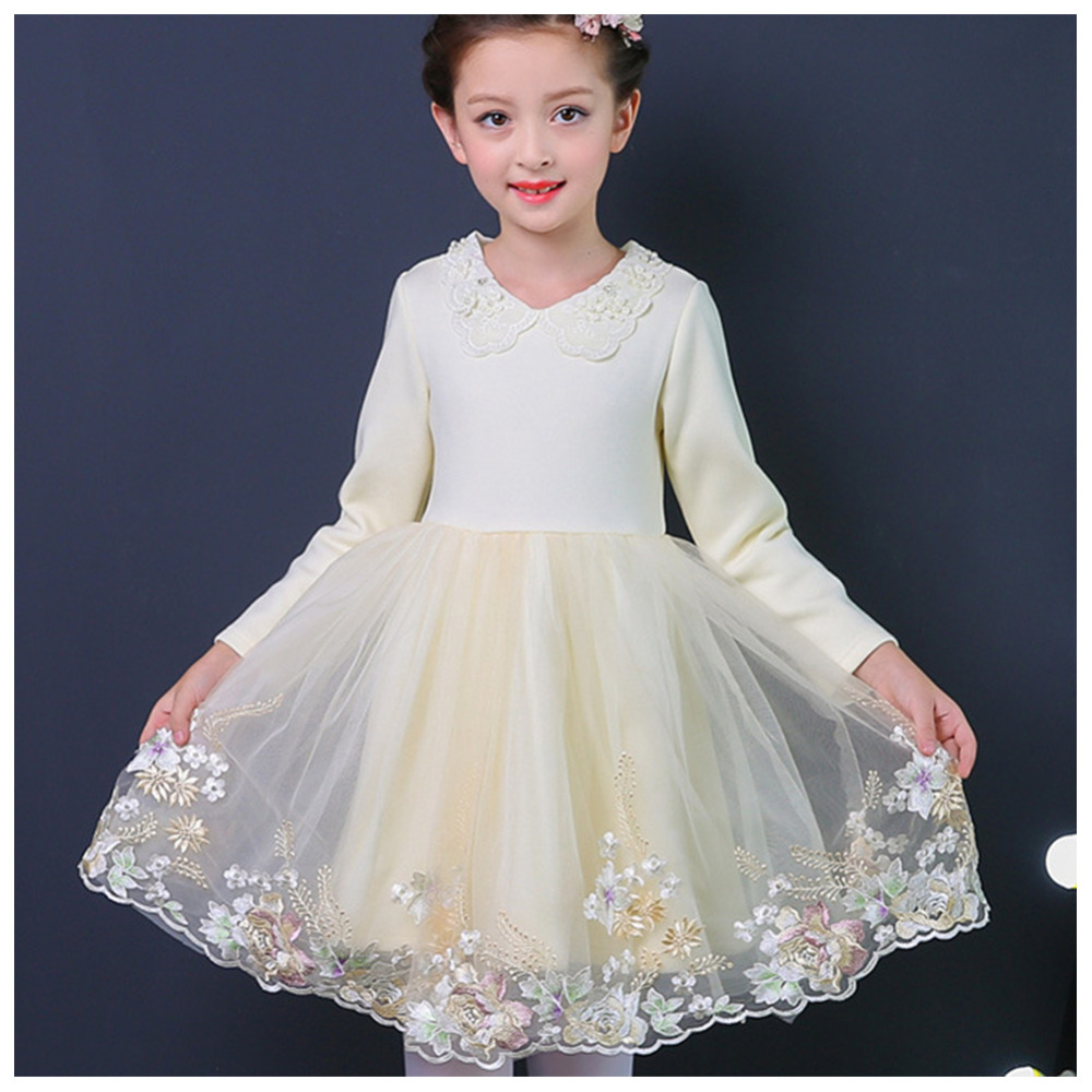 New Kids Flowers Embroidery Dress Thicken Warm Long Sleeve Tulle Dresses Kids Costume a three dimensional embroidery of flowers trees and fruits chinese embroidery handmade art design book