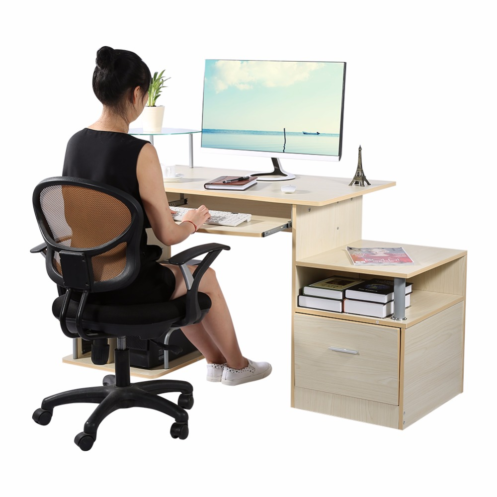 Wood Computer desk table office workstation study writing PC furniture drawers Modern Home Office With Storage Rack ...
