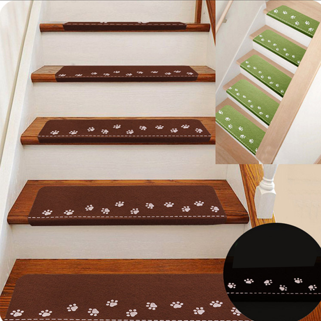 Indoor Luminous Stair Mat Cartoon Self-adhesive Carpet Safety Non-Slip Mute Floor Mats 55.5*22.5*4cm